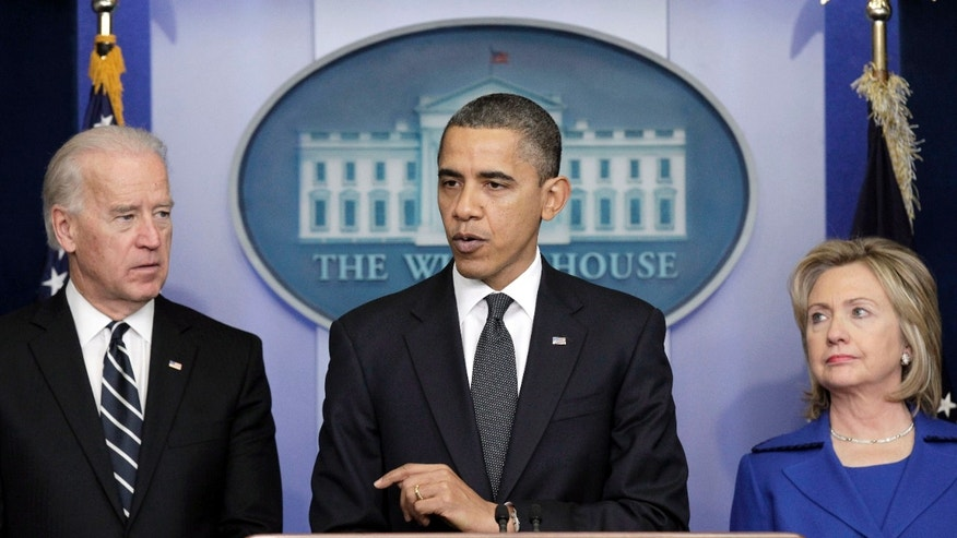President Obama, accompanied by Vice President Biden and Secretary of State Hillary Clinton, delivers a statement in the Brady Press Briefing room in the White House in Washington, Thursday, Dec. 16, 2010, on the Afghanistan-Pakistan Annual Review. (AP)