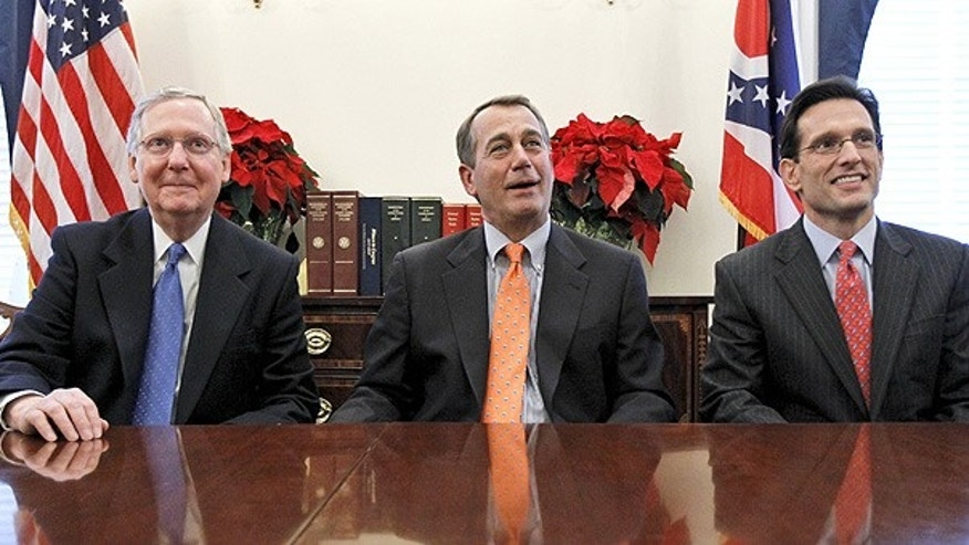 Nov. 30: Senate GOP Leader Mitch McConnell of Ky., left, House Speaker-designate John Boehner of Ohio, and House Majority Leader-elect Eric Cantor of Va., discuss their meeting with President Obama.