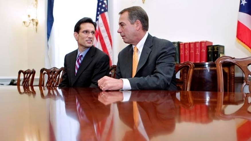 FILE: On Capitol Hill, House Republican leader John Boehner of Ohio and House GOP Whip Eric Cantor of Virginia talk about the changes in the balance of power in Congress on Nov. 3.