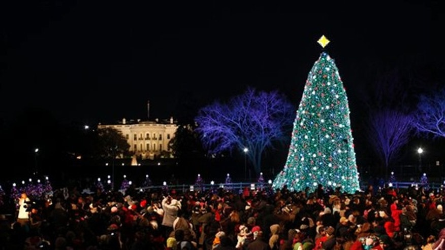 Dec. 9, 2010: The National Christmas Tree is shown at the Ellipse across from the White House in Washington.