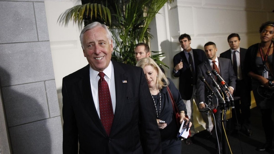 House Majority Leader Rep. Steny Hoyer, D-Md., walks by the microphones after a House democratic caucus meeting. AP Photo/Alex Brandon)