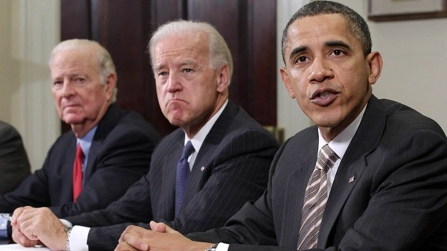 Nov. 18: President Obama, Vice President Biden and former Secretary of State James Baker III discuss the START pact at the White House.