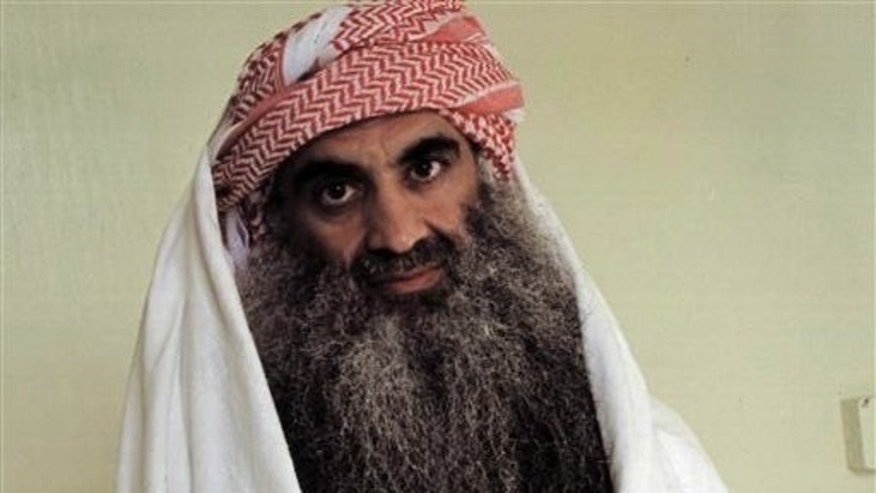 Khalid Sheik Mohammed, the professed mastermind of the Sept. 11 attacks, appears in a photo taken by the International Committee of the Red Cross at the U.S. Navy prison in Guantanamo Bay, Cuba.