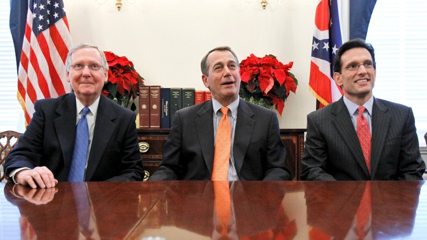 From left, Senate Republican Leader Mitch McConnell of Ky., House Speaker-designate John Boehner of Ohio, and House Majority Leader-elect Eric Cantor of Va., take part in a news conference, on Capitol Hill in Washington Tuesday, Nov. 30, 2010, following their meeting at the White House with President Obama. (AP)