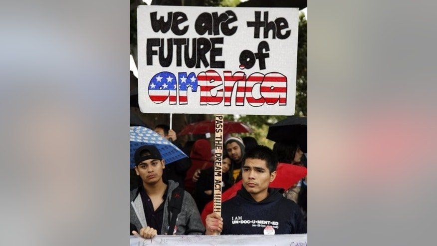 Dec. 18, 2010: College student Jorge Herrera, 18, an illegal immigrant, rallies with students and Dream Act supporters in Los Angeles.