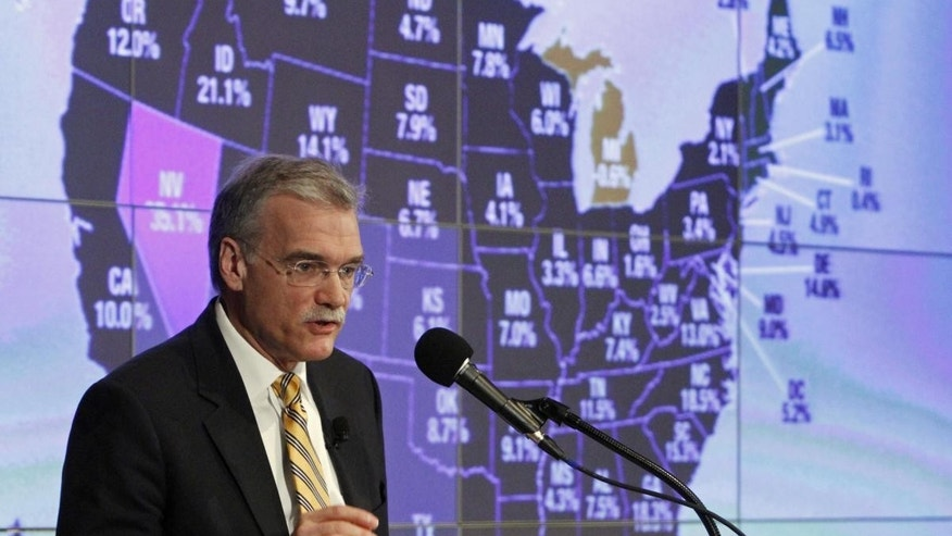 Census Director Robert Groves announces results for the 2010 U.S. Census at the National Press Club, Tuesday, Dec. 21, 2010 in Washington. (AP Photo/Jacquelyn Martin)