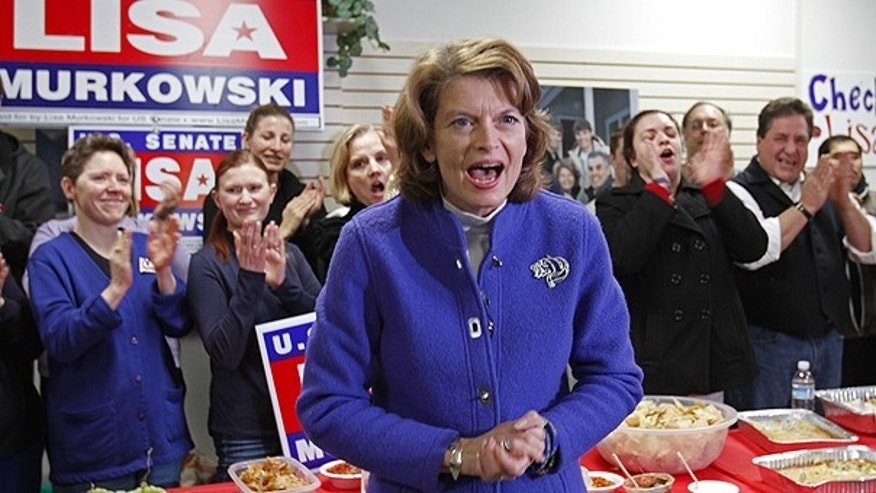 This Monday, Nov. 1, 2010 shows Sen. Lisa Murkowski, R-Alaska, at a rally in Anchorage, Alaska.