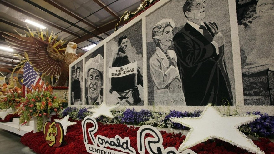 The float honoring former President Ronald Reagan that appeared in Saturday's Rose Parade. (AP Photo/Nick Ut)