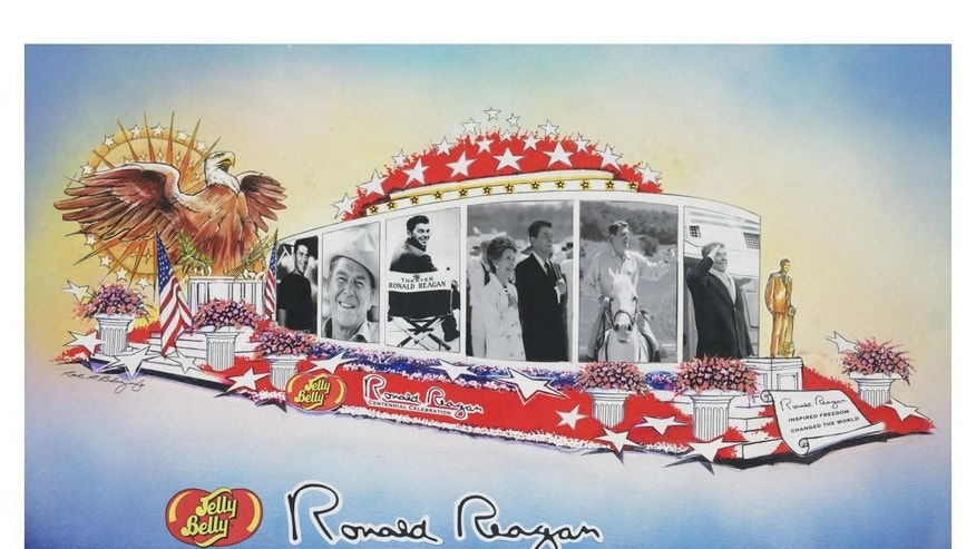 An artist rendering of the Reagan float provided by the Jelly Belly Candy Company