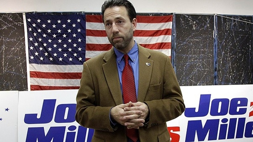 In this Nov. 9, 2010 file photo, Republican Joe Miller speaks with reporters during a news conference in Juneau, Alaska.