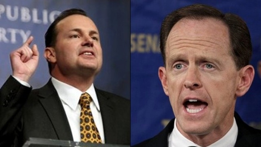 Shown here are Sen.-elect Mike Lee, left, and Sen.-elect Pat Toomey.