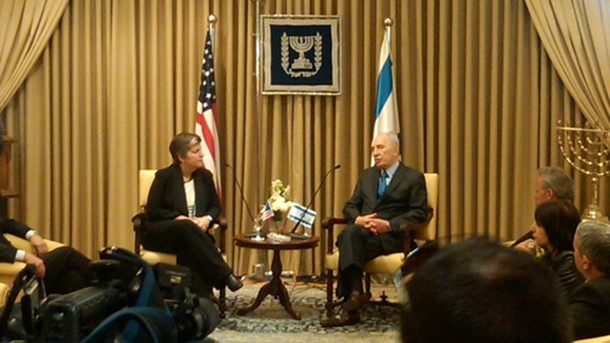 Homeland Security Secretary Janet Napolitano, left, meets with Israeli President Shimon Peres at his residence in Jerusalem on Jan. 3.