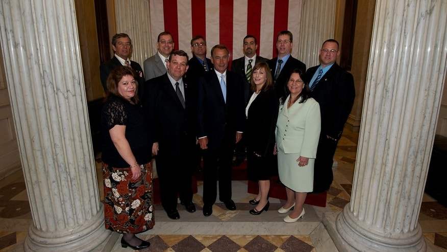 This photo released by his office shows John Boehner with ten of his eleven siblings at the Capitol on Wednesday.  (Boehner staff photo)