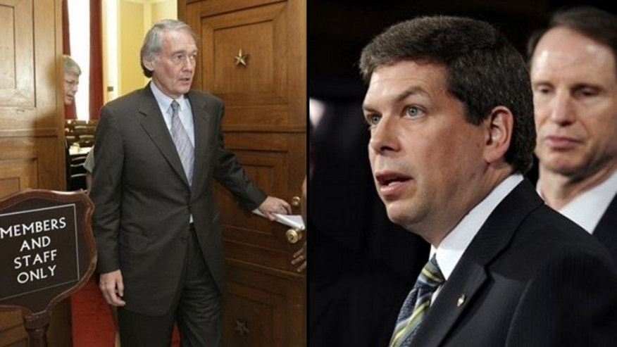 Alaska Sen. Mark Begich, (r), is telling fellow Democrat Ed Markey of Massachusetts, (l), to stay out of his state's business after Markey introduced a bill to designate the Artic National Wildlife Refuge's coastal plain as wilderness. (AP)