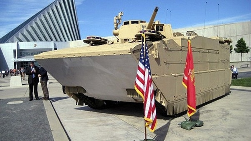 May 4: The first prototype of the U.S. Marine Corps' new Expeditionary Fighting Vehicle (EFV) is seen outside the National Museum of the Marine Corps, adjacent to their base at Quantico, Virginia.