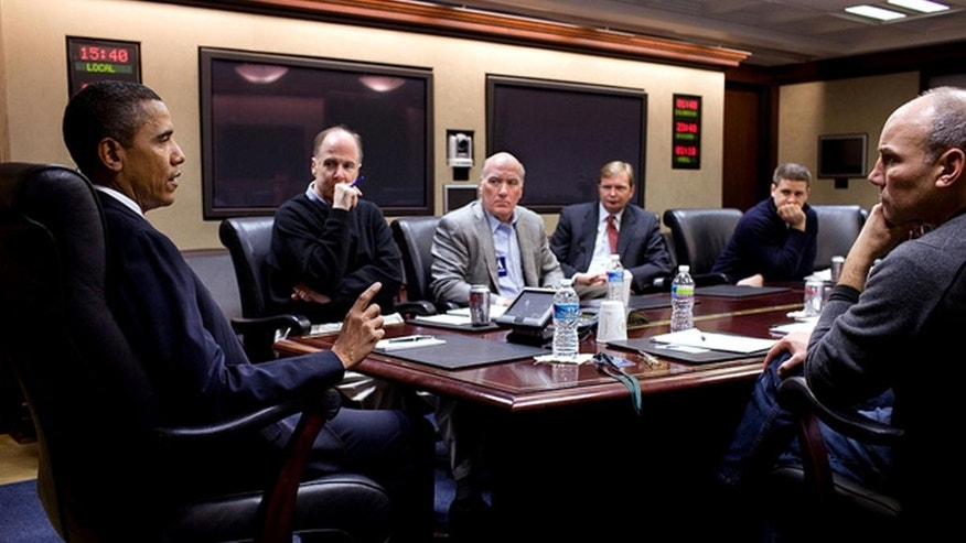 President Barack Obama takes part in a conference call in the Situation Room of the White House concerning the shooting of Rep. Gabrielle Giffords and others in Tucson, Az., Saturday, Jan. 8, 2011. Pictured, left to right, National Security Advisor Tom Donilon, incoming Chief of Staff Bill Daley, Deputy Chief of Staff Jim Messina, Director of Communications Dan Pfeiffer, and Assistant to the President for Legislative Affairs Phil Schiliro. Also taking part in the call were Attorney General Eric H. Holder, Jr., Homeland Security Secretary Janet Napolitano, and FBI Director Robert Mueller. (Official White House Photo by Pete Souza)