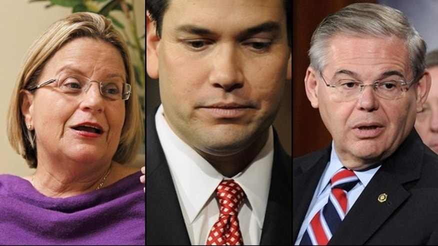 Rep. Ileana Ros-Lehtinen, R-Fla., Sens. Marco Rubio, R-Fla., and Robert Menendez, D-N.J., aren't happy with President Obama's easing of Cuba travel restrictions. (Reuters)