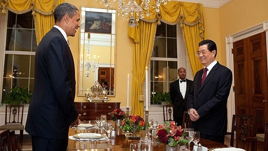Jan. 18: President Barack Obama and China President Hu Jintao in the Old Family Dining Room of the White House.