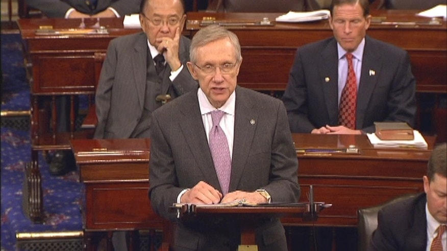 FILE: Democratic Leader Harry Reid of Nevada on the U.S. Senate floor.