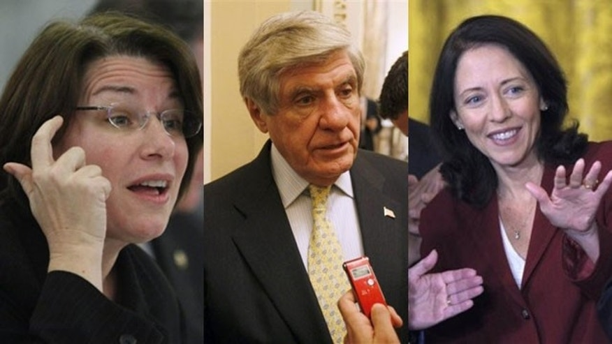 Shown here are Sen. Amy Klobuchar, D-Minn., left; Sen. Ben Nelson, D-Neb., center; and Sen. Maria Cantwell, D-Wash.