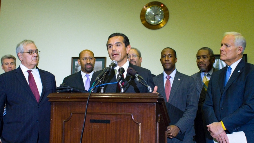 From left, Rep. Barney Frank, D-Mass., Philadelphia Mayor Michael Nutter, Los Angeles Mayor Antonio Villaragosa, Rep. Chaka Fattah, D-Pa., Newton, Mass. Mayor Setti Warren, Rep. Gregory Meeks, D-N.Y, and Akron, Ohio Mayor Donald Plusquellic, take part in a news conference on Capitol Hill in Washington, Wednesday, Jan. 19, 2011, to discuss the impact of cutting Community Development Block Grants. (AP)