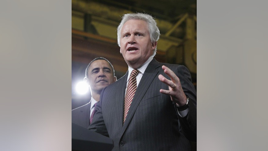 President Barack Obama is introduced by GE CEO Jeffrey Immelt as he visits the birthplace of the General Electric Co., Friday, Jan. 21, 2011, in Schenectady, N.Y. (AP Photo/J. Scott Applewhite)