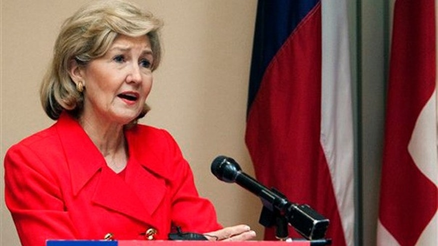 FILE: In this Jan. 19, 2010, photo, Sen. Kay Bailey Hutchison, R-Texas, addresses the Greater Houston Pachyderm Club in Houston, less than a week after announcing her retirement from Congress.