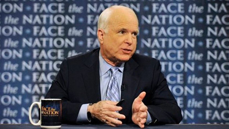 "Jan. 23, 2011: In this photo provided by CBS television, Sen. John McCain, R-Ariz., talks on CBS's ""Face the Nation"" in Washington about President Barack Obama's upcoming State of the Union address on Jan 25."