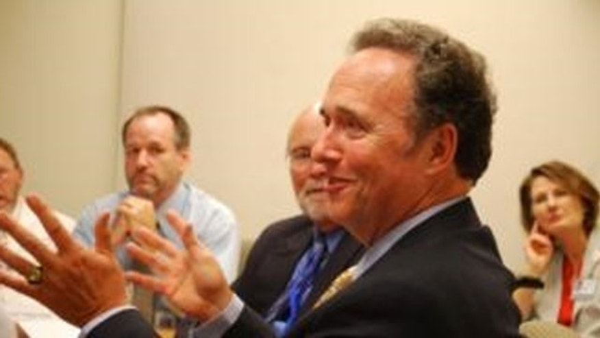 Rep. Dan Lungren is shown at a health care facility in Folsom, Calif.