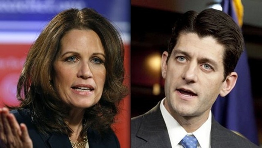 Shown here are Rep. Michele Bachmann, R-Minn., and Rep. Paul Ryan, R-Wis.