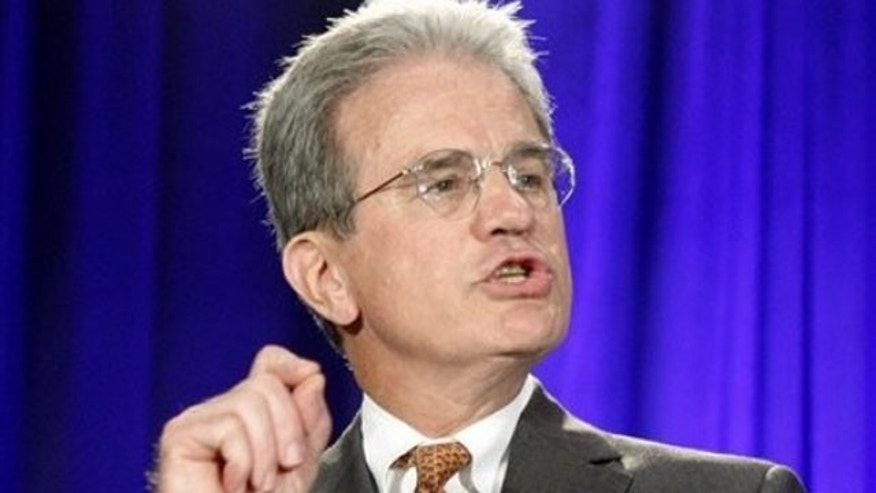 In this Nov. 2, 2010, file photo, Sen. Tom Coburn speaks in Oklahoma City.