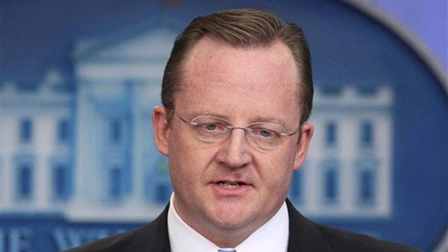 White House Press Secretary Robert Gibbs answers questions on Egypt during his daily news briefing at the White House Jan. 28.