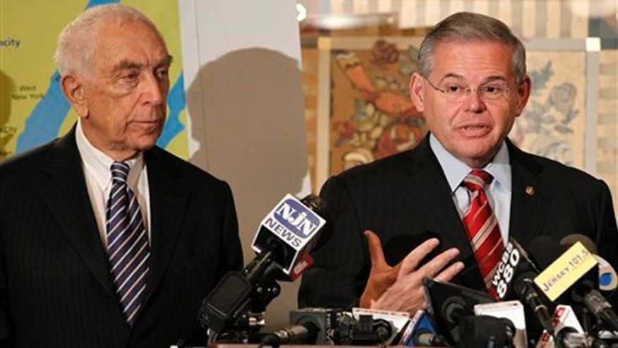New Jersey Sens. Robert Menendez, right, and Sen. Frank R. Lautenberg.