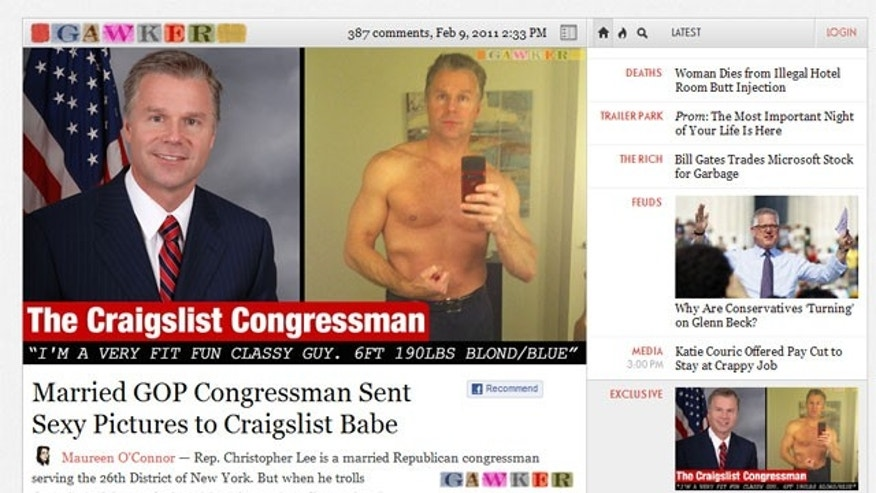 Rep. Christopher Lee resigned after the gossip site Gawker published a story claiming he sent a shirtless photo of himself to a woman on Craigslist. (Gawker)