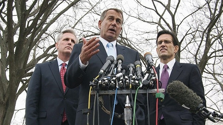Feb. 9: House Speaker John Boehner, center, accompanied by House Majority Leader Eric Cantor, right, and House Majority Whip Kevin McCarthy outside the White House.