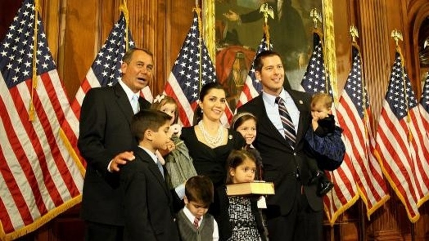 House Speaker John Boehner and the Duffy family at Rep. Duffy's swearing in.