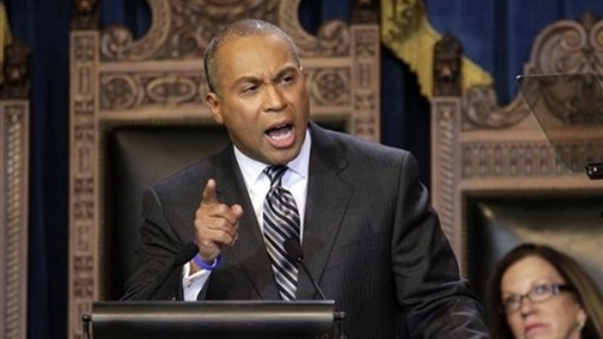 Massachusetts Gov. Deval Patrick addresses an audience in the House Chamber during his inaugural address in Boston Jan. 6.