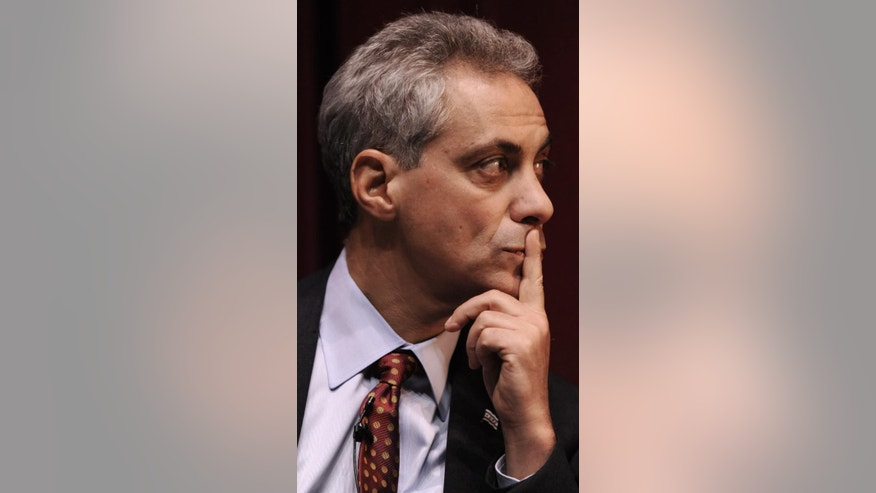 Rahm Emanuel looks on during a Chicago Mayoral debate at the DuSable Museum of African American History in Chicago Wednesday, Feb. 9, 2011. (AP Photo/Paul Beaty)