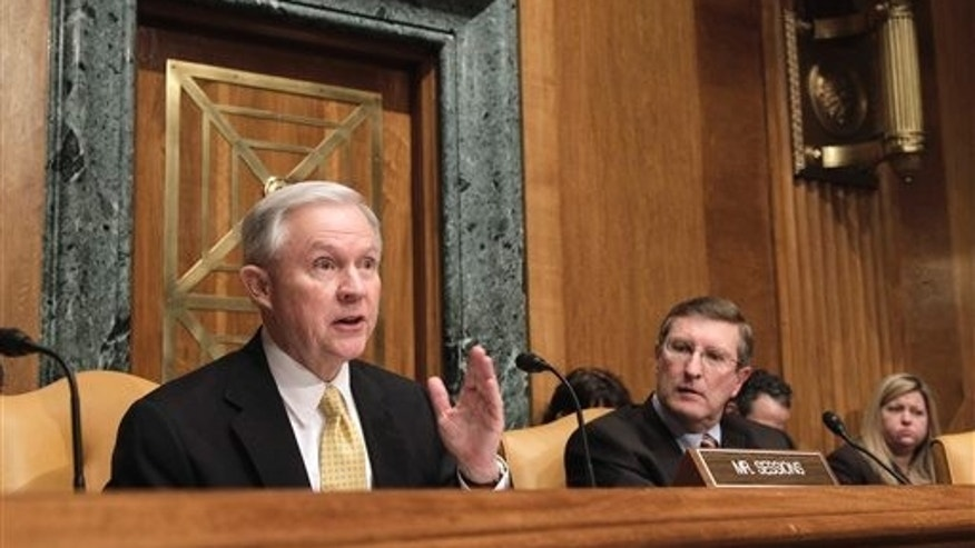 Feb. 15: Senate Budget Committee Chairman Kent Conrad, D-N.D., right, looks on as the committee's ranking Republican, Sen. Jeff Sessions, R-Ala. questions Budget Director Jack Lew on Capitol Hill in Washington during the committee's hearing on President Barack Obama's fiscal 2012 federal budget. (AP)