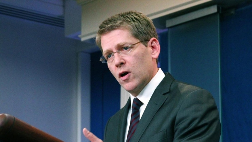 New  Press Secretary Jay Carney briefs the White House Press Corps for the first time. (Fox News Photo)