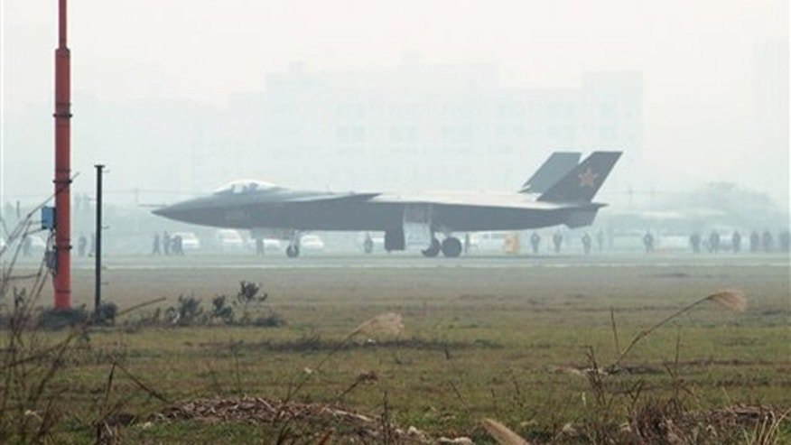 In this Friday Jan. 7, 2011, photo, a prototype of the Chinese J-20 stealth plane is seen during a runway test in Chengdu, southwest China.