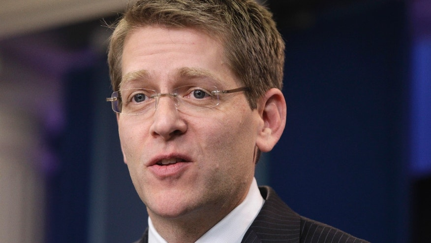 White House Press Secretary Jay Carney briefs reporters at the White House in Washington, Thursday, Feb. 17, 2011. (AP)