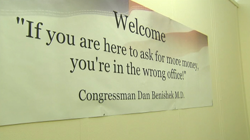 Rep. Dan Benishek, R-Mich., installed this sign in his Capitol Hill office. (From Fox News Video)
