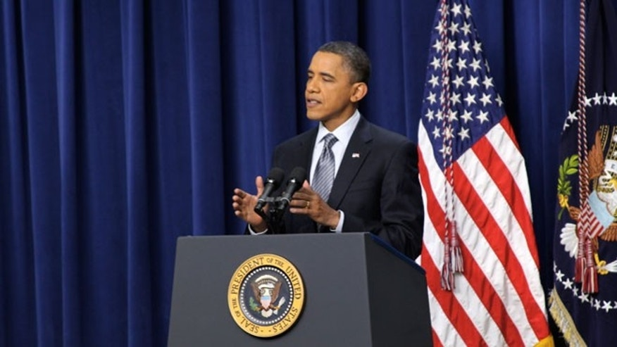 Tuesday: President Obama speaks during a news conference at the Eisenhower Executive Office Building.