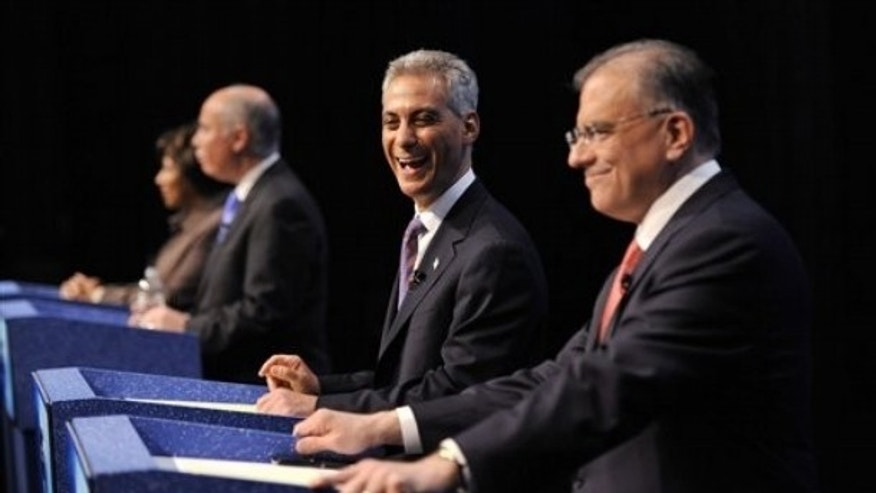 Feb. 17: Chicago mayoral candidates Gery Chico, Rahm Emanuel, Miguel del Valle and Carol Moseley Braun prepare for their debate at the Oriental Theater in Chicago.