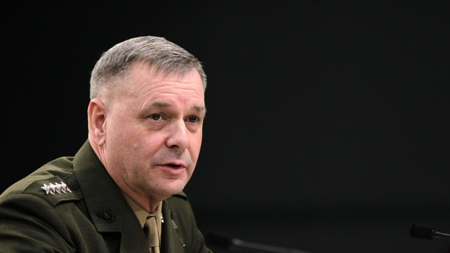 Joint Chiefs Vice Chairman Gen. James E. Cartwright takes part in media briefing at the Pentagon, Friday, Jan. 28, 2011. (AP)