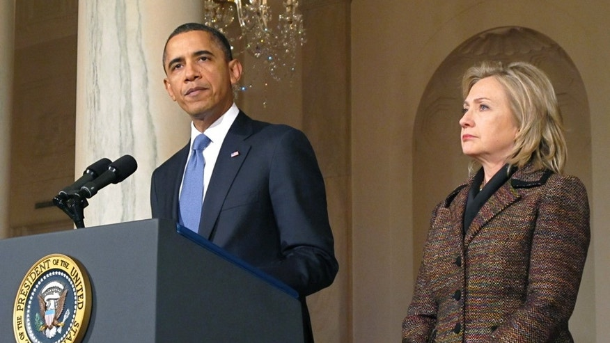 Feb. 23: President Barack Obama appeared with Secretary of State Hillary Clinton to deliver a statement on the Libya crisis in the Grand Foyer of the White House in Washington.