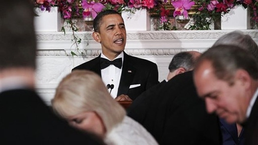 President Obama speaks at the 2011 Governors Dinner in the State Room at the White House in Washington Feb. 27.