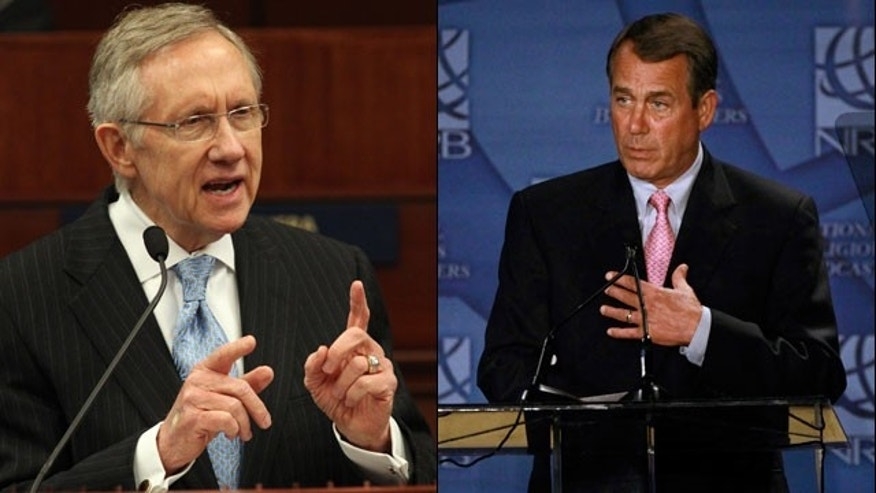 Senate Majority Leader Harry Reid and House Speaker John Boehner are at loggerheads over a GOP stopgap measure that would slash $61 billion in federal spending and keep the government funded through September. (AP)