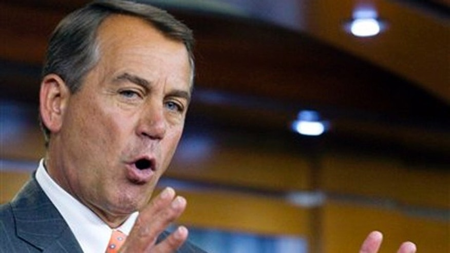 House Speaker John Boehner speaks at a news conference about the price of gasoline on Capitol Hill March 10.